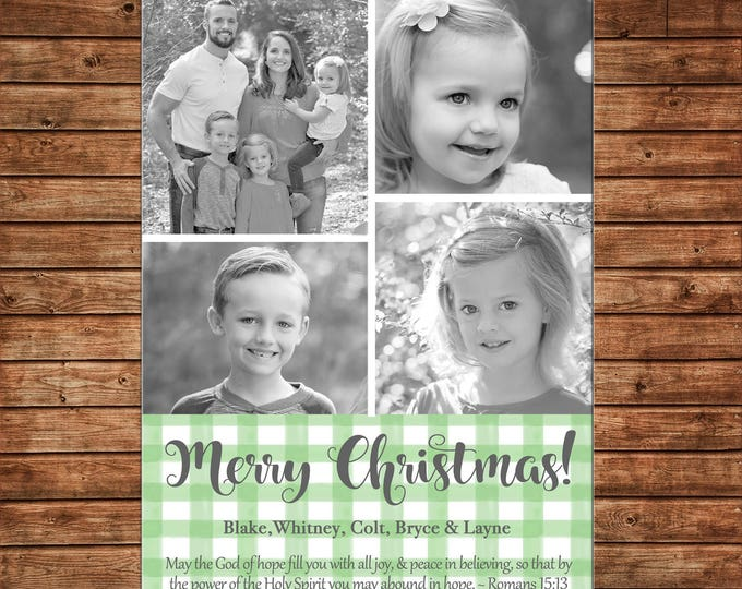 Christmas Holiday Photo Card Watercolor Gingham  - Can Personalize - Printable File or Printed Cards