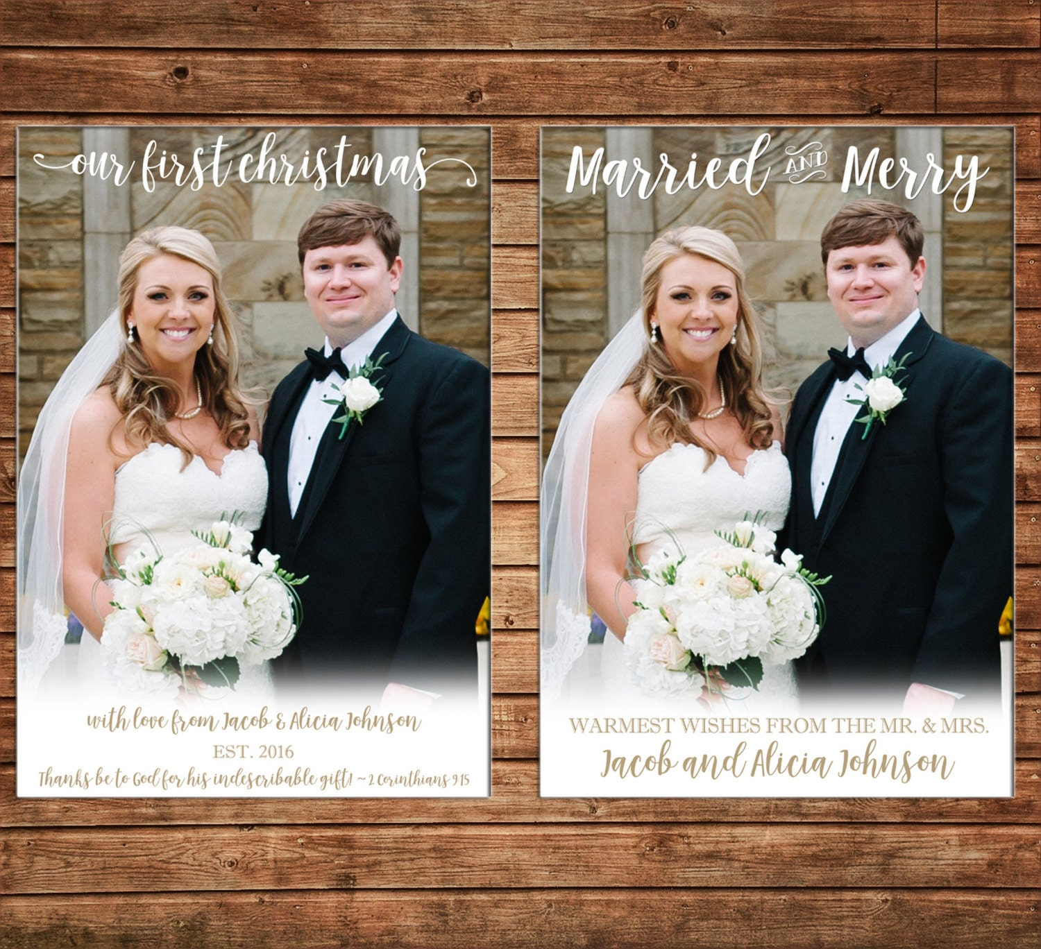 Christmas Holiday Photo Card First Christmas Married Merry - Can ...