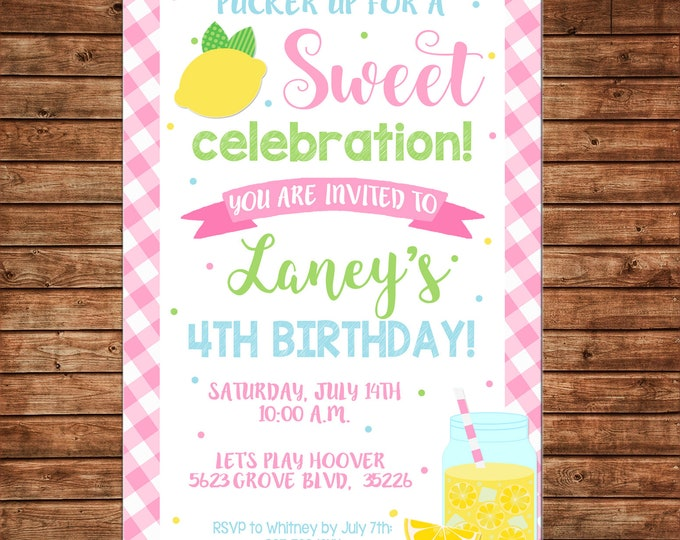 Girl Invitation Lemonade Stand Lemon Gingham Summer Birthday Party - Can personalize colors /wording - Printable File or Printed Cards