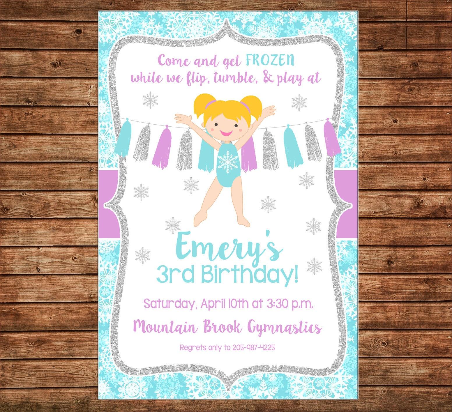 Girl Invitation Snowflake Glitter Gymnastics Gym Birthday Party ...