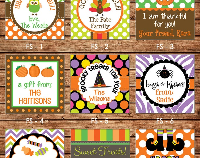 24 Printed Halloween Thanksgiving Square Gift Tags Enclosure Cards Stickers - Can personalize - Choose ONE design