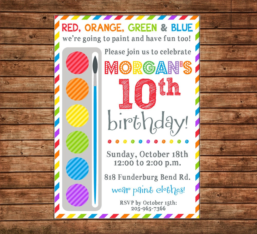 Boy or Girl Invitation Paint Palette Rainbow Stripe Art Birthday ...