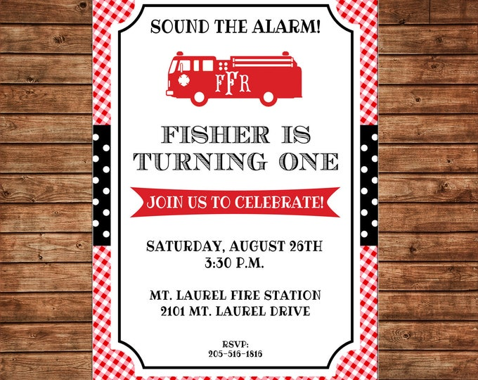 Boy Invitation Monogram Firetruck Red Gingham Baby Shower Birthday Party - Can personalize colors /wording - Printable File or Printed Cards