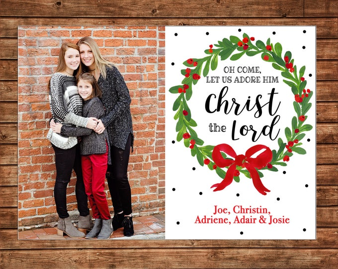 Christmas Holiday Photo Card Watercolor Wreath Red Bow Black  - Can Personalize - Printable File or Printed Cards