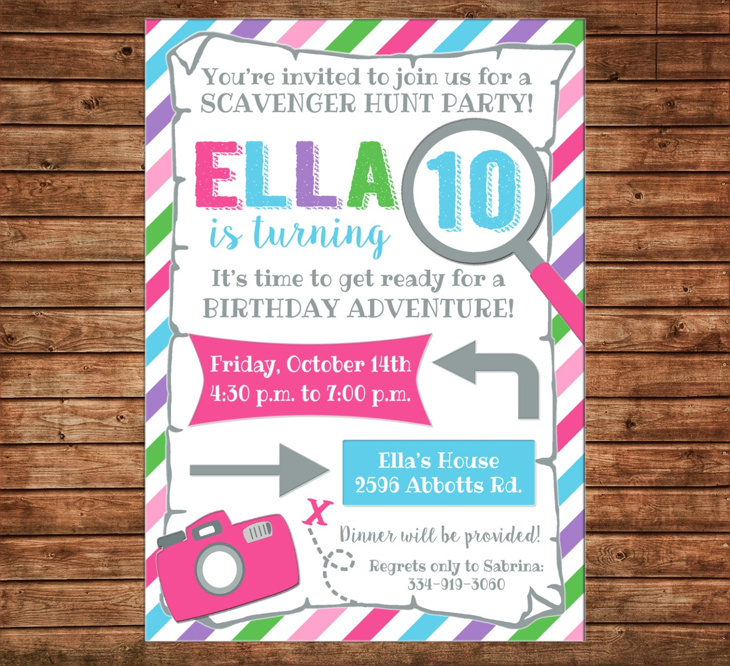 Girl Invitation Scavenger Hunt Map Camera Birthday Party Can