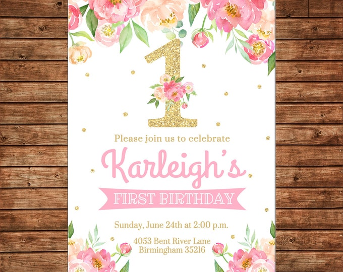 Girl Invitation Watercolor Flowers Gold Glitter 1st Birthday Party - Can personalize colors /wording - Printable File or Printed Cards