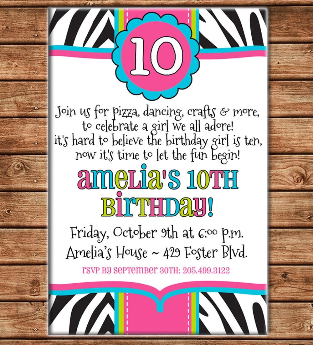 Girl Invitation Tween Teen Zebra Print Birthday Party