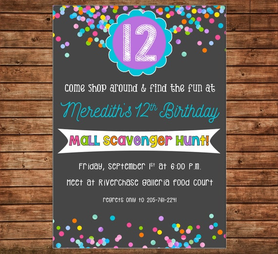 Girl Invitation Mall Shopping Scavenger Hunt Birthday Party Can Personalize Colors Wording Printable File Or Printed Cards