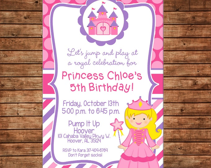 Girl Invitation Generic Princess Castle Royal Birthday Party - Can personalize colors /wording - Printable File or Printed Cards
