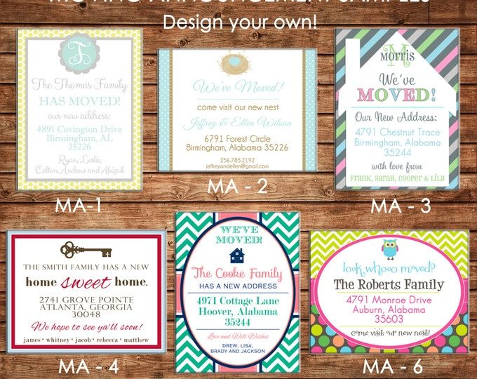 Personalized Printed Moving We've Moved New Address Announcement Cards with envelopes - Design your own