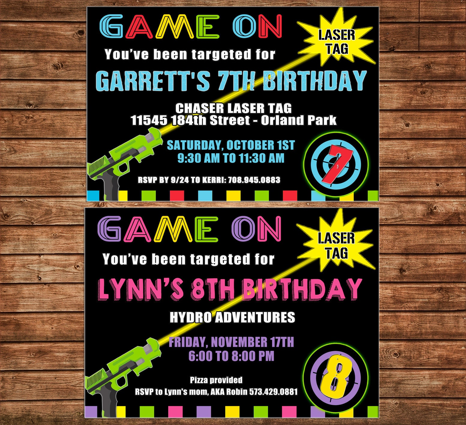 Boy Or Girl Invitation Laser Tag Arcade Birthday Party
