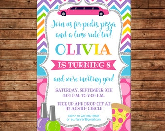 Limo party etsy girl invitation limo mani pedi manicures pedicures pizza birthday party can personalize colors wording stopboris Image collections