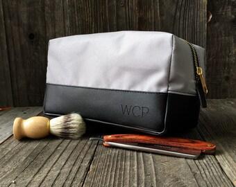 Personalized Dopp Kit - Mens Toiletry Bag - Groomsmen Gift - Leather Dopp  Kit - Gray   Black 2b25970c8d