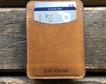 Credit card holder etsy cash band credit card holder personalized wallet slim leather wallet butterscotch reheart Images