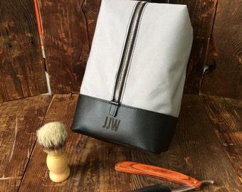 Hanging Dopp Kit - Leather Toiletry Bag - Groomsmen Gift - Grey   Black 7843d701e9