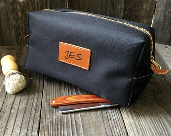 Mens Toiletry Bag - Canvas Dopp Kit - Groomsmen Gift - Black   Tan ab2f164b07