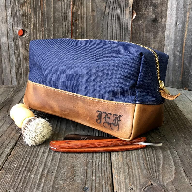 6e64c1290e76 Personalized Dopp Kit - Mens Toiletry Bag - Groomsmen Gift - Leather Dopp  Kit - Navy   Brown