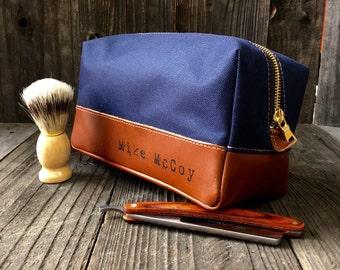 Canvas Toiletry Bag & Custom Dopp Kit - Navy / Tan