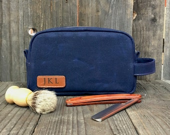 Waxed Canvas Toiletry Bags - Mens Dopp Kit - Leather Toiletry Bag - Groomsman Gift - Navy Blue
