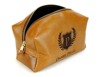 Leather Toiletry Bag - Mens Dopp Kit - Personalized Toiletry Bag - Groomsmen Gift - Tan