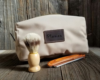 Canvas Dopp Kit - Mens Toiletry Bag - Personalized Dopp Kit - Groomsmen Gift - Beige & Oil Brown