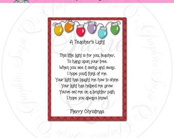 A Teacher's Light Card/Tag in 2 sizes (poem version 2) - CU Digital Printable -Immediate Download
