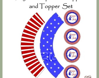 4th of July Cupcake Wrappers and Toppers - Digital Printable - Immediate Download