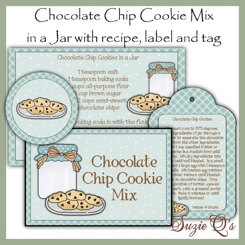 Make your own Chocolate Chip Cookie Mix in a Jar Label Tag