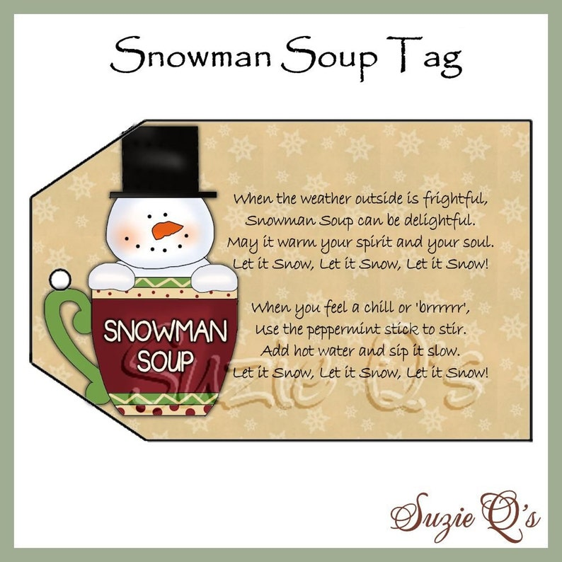 photo relating to Snowman Soup Printable Tag identify Snowman Soup Tag - CU Electronic Printable - Very good Craft Present Supplier - Fast Obtain