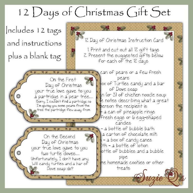 Twelve Days Of Christmas Notes.Twelve Days Of Christmas Tag Set With Instructions Cu Digital Printable Immediate Download