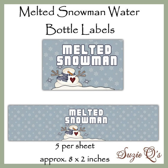 Melted Snowman Water Bottle Labels Dgital Printable Etsy