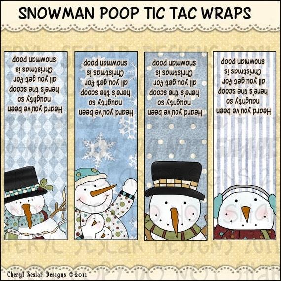 Party Favor Stocking Stuffer Digital Printable Snowman PoopTac Tac Cover Package Christmas Tic Tac Label Snowman Poop