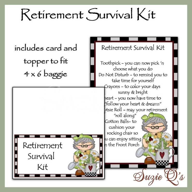 picture relating to Printable Survival Cards identify Retirement Survival Package incorporates Topper and Card - Electronic Printable - Fast Down load