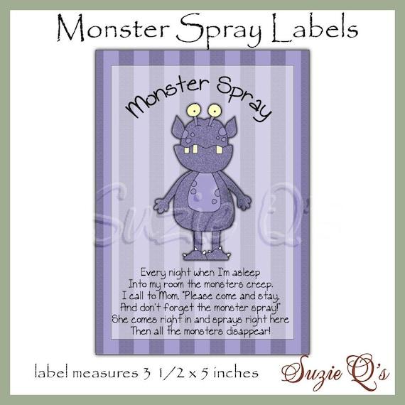 monster spray bottle labels dgital printable immediate etsy