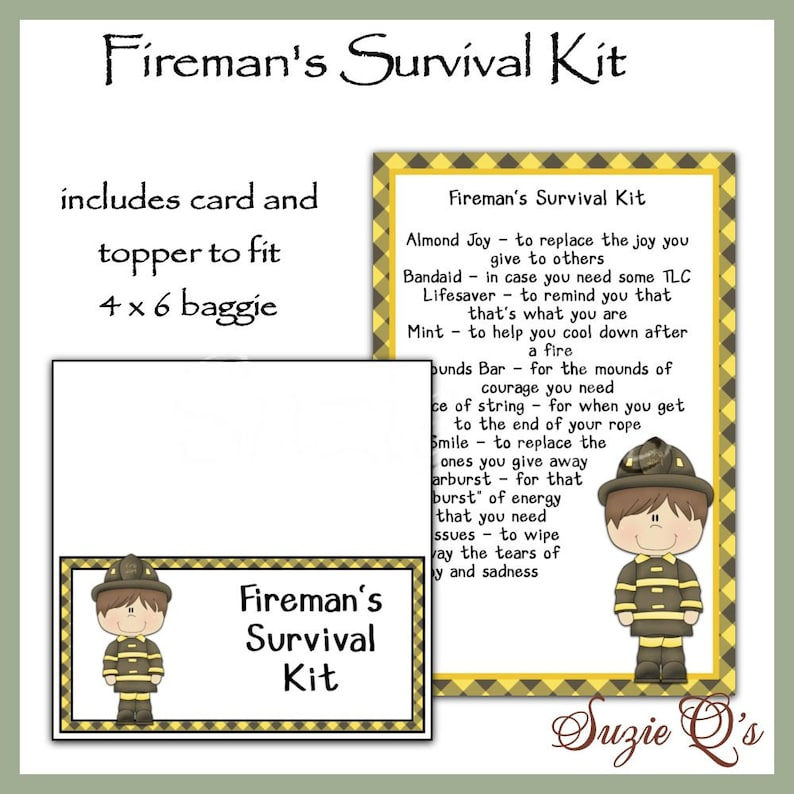 image regarding Printable Survival Cards titled Firemans Survival Package contains Topper and Card - Electronic Printable - Prompt Down load