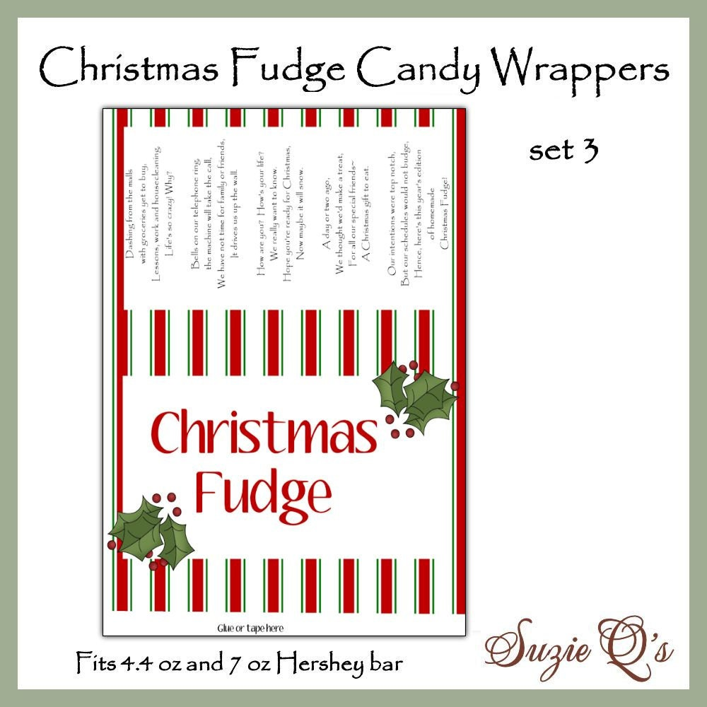 Christmas Fudge Candy Bar Wrappers set 3 in 2 sizes | Etsy