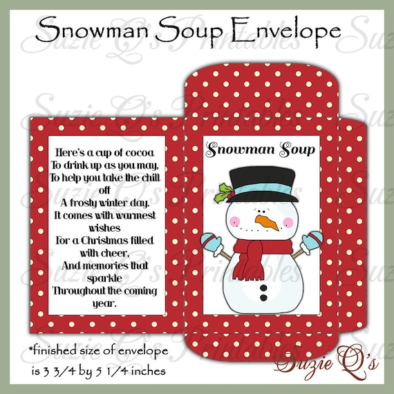 image about Snowman Soup Printable named Snowman Soup Envelope - US and World wide Measurements - Electronic Printable - Optimistic Supplier for Wintertime Craft Exhibits - Prompt Down load