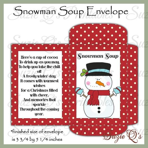 image about Snowman Soup Printable called Snowman Soup Envelope - US and Global Measurements - Electronic Printable - Fantastic Supplier for Wintertime Craft Reveals - Quick Obtain