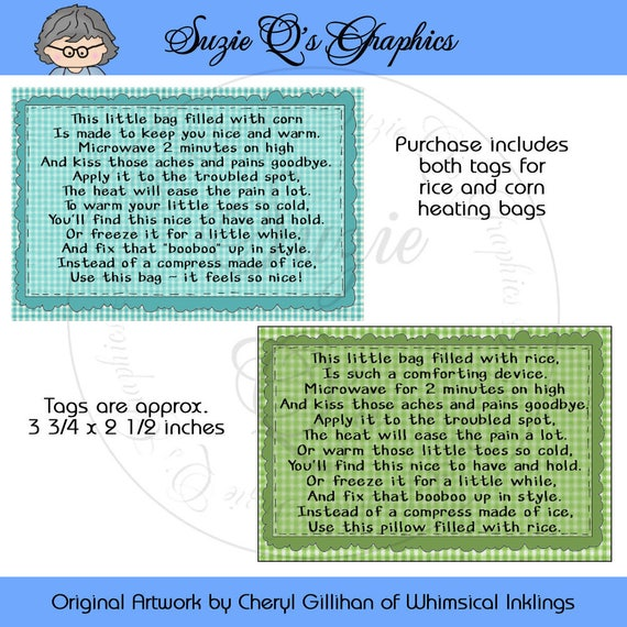 Instruction Tags For The Rice Or Corn Filled Heating Pad Etsy