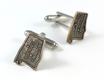 Vintage Alabama Alabama History Gift USA Cufflinks Alabama Cufflinks Alabama State Seal Alabama Jewelry Spoon Cufflinks