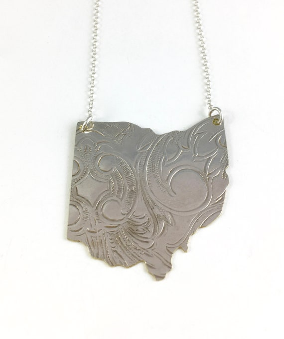 Ohio Necklace Ohio Gift Ohio Map Necklace Ohio Jewelry Etsy