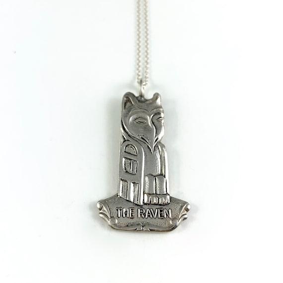 Long Totem Pole Raven Necklace Silver Totem Pole Necklace Raven Totem Pole Charm American Indian Jewelry Raven Totem Pole Necklace