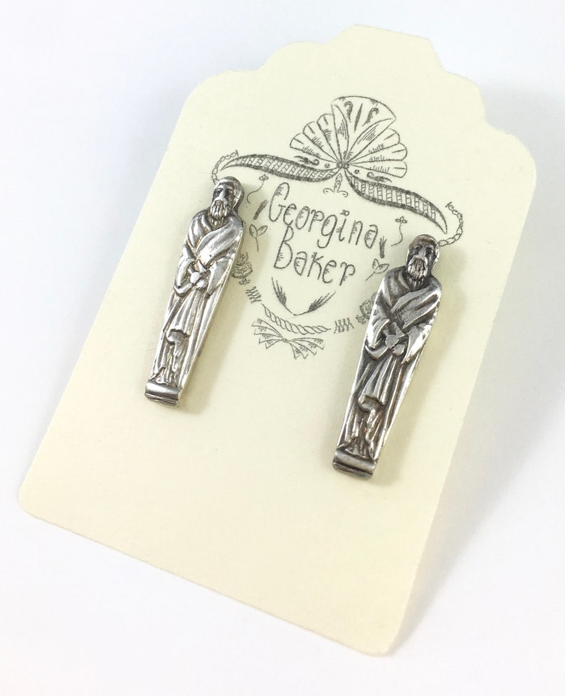 Spoon Studs Gothic Jewelry Apostle Earrings Apostle Jewelry Spoon Jewelry Wife Gift Gothic Earrings Spoon Earrings Religious Jewelry