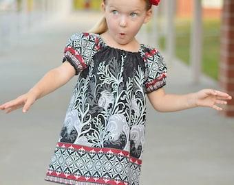 Christmas Dress SEW GROOVY Peasant Dress Pattern - Girl Dress Pattern - PDF Sewing Pattern Sizes 6m-14c