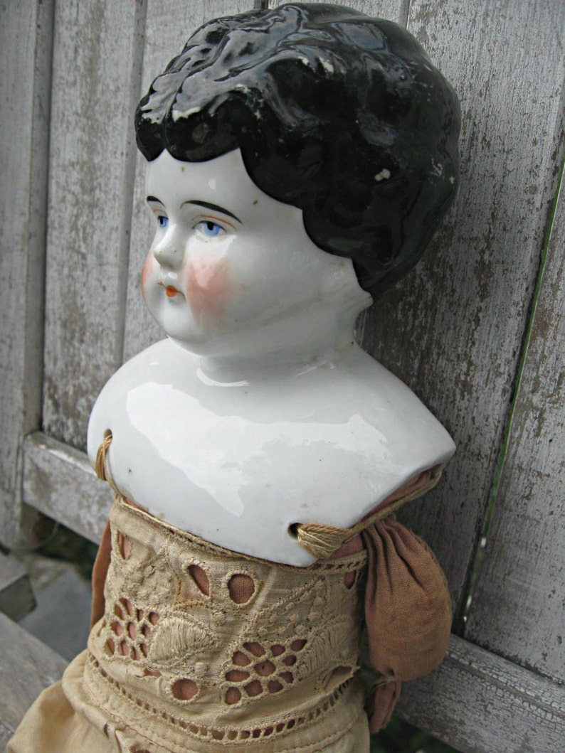 Antique porcelain doll low brow doll pretty doll with eyelet image 0