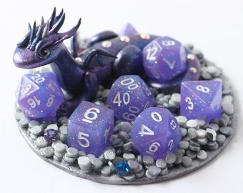 Purple Galaxy Dragon with full set of D&D dice