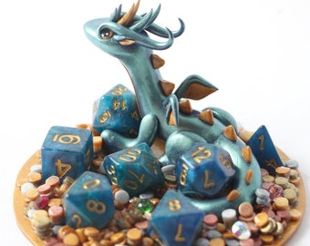 Aquamarine Treasure Dragon with full set of D&D Dice