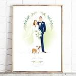 Custom Wedding Portrait - Personalised Couple Drawing - Illustrated Wedding Gift - Bride & Groom - Add a Pet- Cat - Dog- Print -Digital File