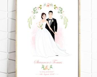 Custom Wedding Portrait - Personalised Couple Illustration - Illustrated Wedding Gift - Bride & Groom - Digital File - Print