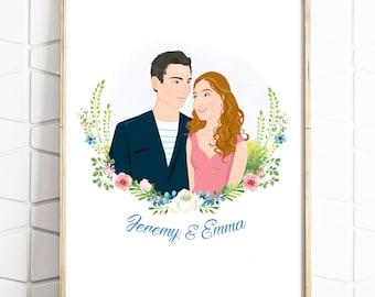 Couples Portrait - Engagement Portrait - Wedding Gift - Engagement Gift - Wedding Present - Anniversary - Print or Digital